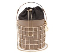 Desire Crystal, Leather And Satin Bucket Bag