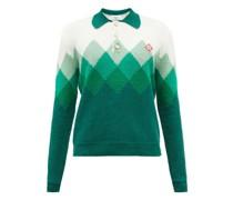 Diamond-jacquard Cotton-blend Bouclé Polo Sweater
