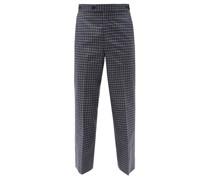Plaid Gabardine Trousers