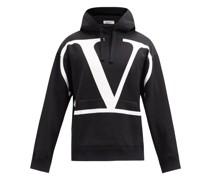 V-logo Cotton-blend Jersey Hooded Sweatshirt