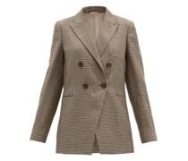 Cutaway-quarter Checked Linen-blend Blazer