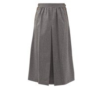 Buttoned Pleated Wool-twill A-line Skirt