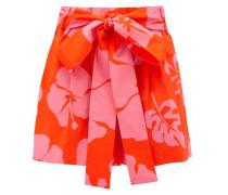 Sage Hibiscus-print Cotton-blend Poplin Shorts