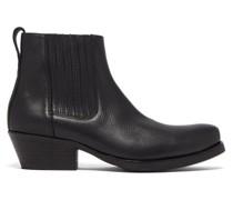 Cuban-heel Leather Boots