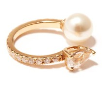 Diamond, Sapphire, Pearl & 14kt Gold Ear Cuff