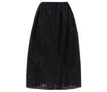 The Crochet Broderie Organic-cotton Midi Skirt