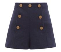 High-rise Wool-herringbone Shorts