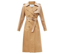 Belted Gabardine And Pvc Trench Coat