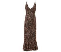 Aidan D Tiger Sequinned Fluted-hem Midi Dress