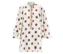 Polka-dot Linen-blend Poplin Mini Dress