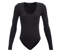 Scoop-neck Ribbed Micromodal-blend Bodysuit