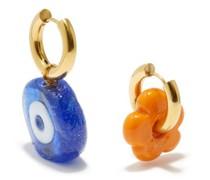 Mismatched Evil Eye 24kt Gold-plated Hoop Earrings