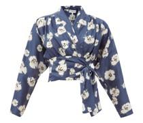 Greta Floral-print Silk Wrap Top
