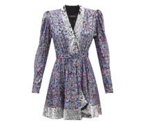 Merenea Sequinned Floral Silk-fil Coupé Mini Dress