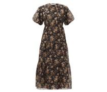Amerie Open-back Floral-print Cotton-blend Dress