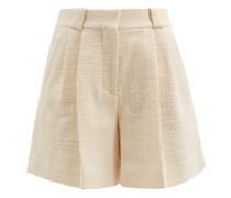 Missy High-rise Cotton-blend Bouclé Shorts