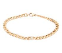 Floating Diamond & 14kt Gold Curb-chain Bracelet