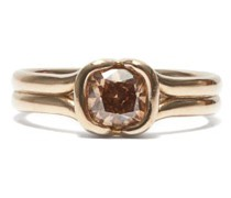 Cushion Diamond & 18kt Beige-gold Ring