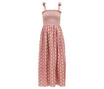 May Botanical-print Silk-faille Dress
