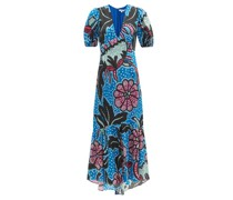 Esther Puff-sleeve Floral-print Poplin Maxi Dress
