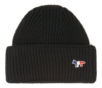 Tricolour Fox-patch Ribbed-wool Beanie