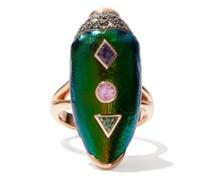 Scarab Pop Art Diamond, Gold & Silver Ring