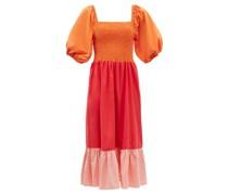 Eloise Shirred Colour-block Cotton-poplin Dress