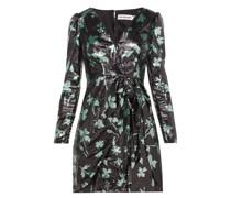 Leaf-sequinned Wrap Dress