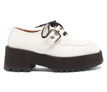 Exaggerated-sole Leather Loafers
