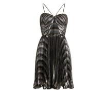 Gaia Striped Pleated Lamé Mini Dress