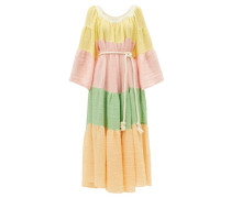 Square-neck Tiered Linen-blend Maxi Dress