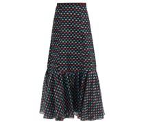 Claudena High-rise Polka-dot Organza Midi Skirt