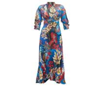 Floral-print Hammered Silk-blend Dress