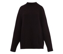 Crew-neck Basketweave Wool Sweater