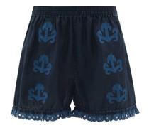 Shalimar Floral-appliqué Linen Shorts