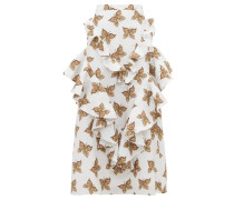 Butterfly-print Flounced-cloqué Maxi Skirt