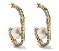 Dedica Crystal & Faux-pearl Hoop Earrings