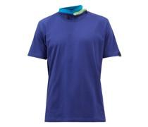 Panelled-neck Cotton-jersey T-shirt
