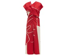 Draped-neck Printed Satin Midi Dress