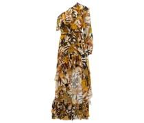 One-shoulder Floral-print Silk Dress