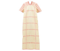 No.166 Striped Embroidered Cotton Kaftan
