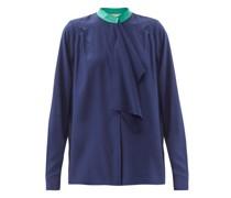 Rubis Contrast-collar Silk Blouse
