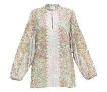 Lace-trimmed Microfloral-print Silk Blouse