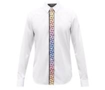 Greca-stripe Cotton-poplin Shirt