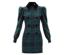Puff-shoulder Wool-tartan Mini Dress