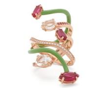 Vine Wrapped Diamond, 9kt Rose-gold & Enamel Ring