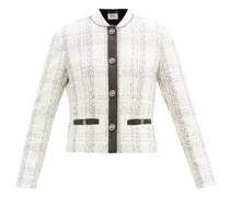 Leather-trim Checked Cotton-blend Bouclé Jacket