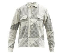 Asymmetric-patchwork Wool-blend Shirt