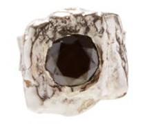 Black Diamond & Sterling Silver-single Earring