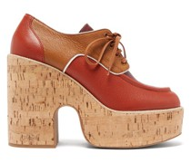 Grained-leather And Cork Platform Brogues